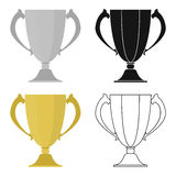 Trophy icon in cartoon style  on white background. Winner cup symbol stock vector illustration. Stock Photos