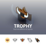 Trophy icon in different style. Trophy color icon, vector symbol in flat, outline and isometric style isolated on blur background Stock Images