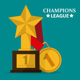 Trophy icon, first position. Trophy and Prize ribbon concept, vector illustration 10 eps graphic Stock Image