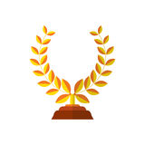 Trophy icon flat of success award winner medal isolated on white vector illustration. Laurel wreath in yellow color for Stock Photo