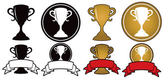 Trophy Icon Set. A winning gold trophy icon set with trophies and banners Stock Images