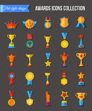 Trophy icons flat set of medallion success award winner medal isolated. Stock Photography