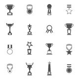 Trophy Icons Set. Trophy icons black set of champion medallion winner prize first place laurel wreath isolated vector illustration Royalty Free Stock Photo