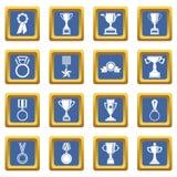 Trophy icons set blue Stock Photo