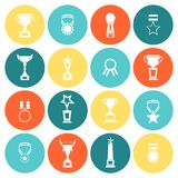 Trophy icons set flat Stock Photography