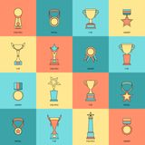 Trophy icons set flat line. Trophy icons flat line set of figurine medal cup award isolated vector illustration Royalty Free Stock Photos