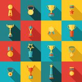 Trophy icons set flat Royalty Free Stock Photos