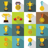 Trophy icons set, flat style Stock Images