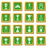 Trophy icons set green Royalty Free Stock Photo
