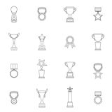 Trophy Icons Set Outline. Trophy icons outline set of sport victory achievement awards isolated vector illustration Royalty Free Stock Photo