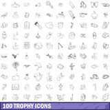 100 trophy icons set, outline style Royalty Free Stock Photos