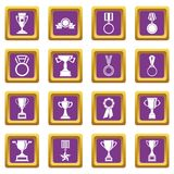 Trophy icons set purple Royalty Free Stock Images