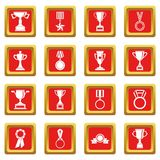 Trophy icons set red Royalty Free Stock Photos