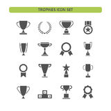 Trophy icons set on a white background Royalty Free Stock Images