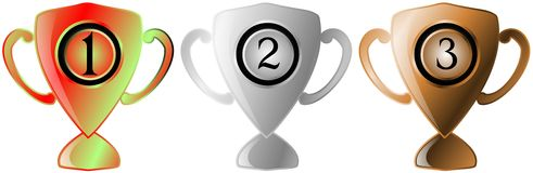 Set of Trophy gold silver bronze isolated Royalty Free Stock Image