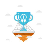 Trophy on island with spider web Stock Image