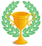 Trophy laurel wreath. Gold trophy award with laurel wreath Stock Images