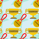 Trophy and medal seamless background design Royalty Free Stock Photos