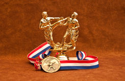 Trophy and Medal Winner. Martial Arts Competition Trophy with Gold Medal stock images