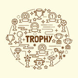 Trophy minimal thin line icons set Royalty Free Stock Images