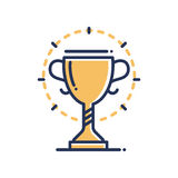 Trophy - modern vector single line icon. An image of a gold prize with a halo around it. Representation of victory, sport, competition, strength, will, power Stock Photo