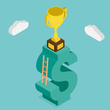 Trophy on money stairs. Design 3d isometric. Royalty Free Stock Images