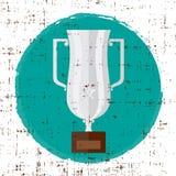 trophy O ícone liso de prata do vetor com estrela e o grunge selecionam a textura ilustração royalty free