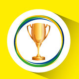 Trophy olympic games brazilian flag colors Stock Photography