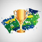 Trophy olympic games brazilian flag colors Royalty Free Stock Photos