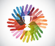 Trophy over diversity hands circle Royalty Free Stock Image