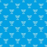 Trophy pattern vector seamless blue. Repeat for any use Stock Photo