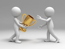 Trophy. A person send the cup to another Stock Photography