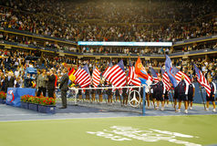 Trophy presentation at Billie Jean King National Tennis Center after US Open 2013 champion Rafael Nadal won final match Royalty Free Stock Images