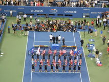 Trophy Presentation at U.S. Open Final 2014. Royalty Free Stock Photography