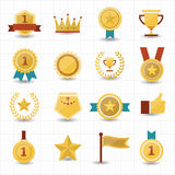 Trophy and prize icons with white background. This image is a vector illustration Stock Photo