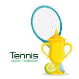 Trophy racket and ball tennis poster Stock Images