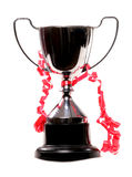 Trophy with red ribbon Stock Photo