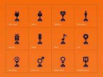 Trophy and reward icons on orange background Stock Image