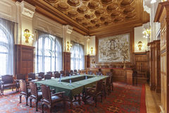 Permanent Court of Arbitration court room. Table Dressing for a meeting at the Permanent Court of Arbitration court room Stock Photos