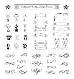 Trophy set. Ribbons, medals, awards, cups and banners collection. Vector Illustration  On White Stock Images