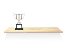 Trophy Shelf. A wooden trophy shelve against a white background stock image