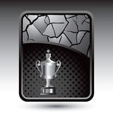 Trophy on silver cracked background Stock Photos