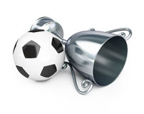 Trophy silver cup football Stock Photos