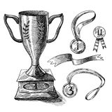 Trophy sketch set Stock Images