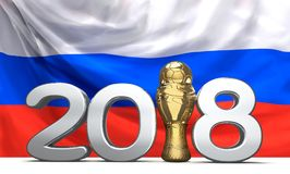 2018 trophy with a soccer football ball in front of. The flag of Russia 3d rendering design Royalty Free Stock Photography