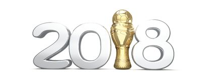2018 trophy with a soccer football ball isolated 3d. Rendering design Stock Photo