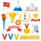 Trophy sports awards. Set of trophy sports awards in flat design style. Sports and business awards vector. Victory prize cup achievement and champion win Stock Photography
