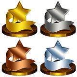 Trophy Stars, Reward, Ribbon. Set of trophy stars with wood plates. Full customizable with own test and logo Royalty Free Illustration