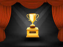 Trophy on theater scene. Vector Stock Image