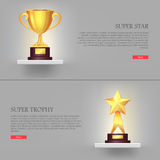 Trophy. Two Awards. Golden Cup Upper and Star Down Stock Photo